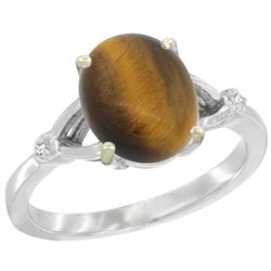 Natural 2.31 ctw Tiger-eye & Diamond Engagement Ring 14K White Gold - REF-31H6W