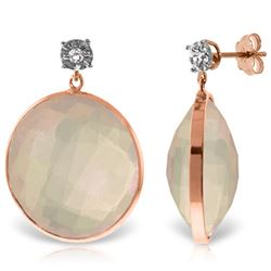 Genuine 34.06 ctw Rose Quartz & Diamond Earrings Jewelry 14KT Rose Gold - REF-65N3R