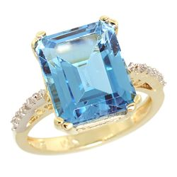 Natural 5.48 ctw Swiss-blue-topaz & Diamond Engagement Ring 14K Yellow Gold - REF-51R4Z