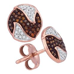 0.21 CTW Red Color Diamond Circle Cluster Earrings 10KT Rose Gold - REF-24M2H