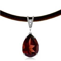 Genuine 6.01 ctw Garnet & Diamond Necklace Jewelry 14KT White Gold - REF-49P2H