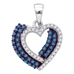 0.40 CTW Blue Color Diamond Double Heart Pendant 10KT White Gold - REF-18M2H