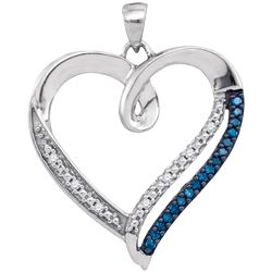 0.15 CTW Blue Color Diamond Heart Outline Pendant 10KT White Gold - REF-19M4H