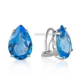 Genuine 10 ctw Blue Topaz Earrings Jewelry 14KT White Gold - REF-50T7A