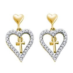 0.33 CTW Diamond Heart Cross Dangle Earrings 14KT Yellow Gold - REF-33X7Y