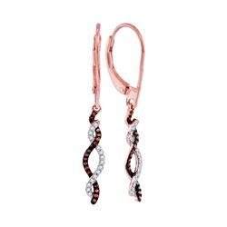 0.20 CTW Red Color Diamond Woven Leverback Earrings 10KT Rose Gold - REF-26F9N