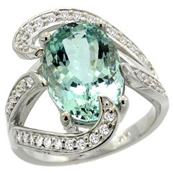 Natural 6.24 ctw aquamarine & Diamond Engagement Ring 14K White Gold - REF-164W7K