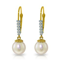 Genuine 4.15 ctw Pearl & Diamond Earrings Jewelry 14KT Yellow Gold - REF-34X7M