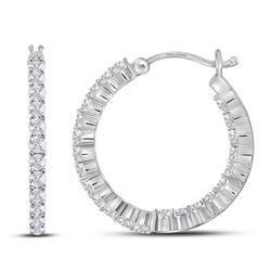 1.96 CTW Diamond Single Row Hoop Earrings 14KT White Gold - REF-134Y9X