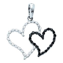 0.20 CTW Black Color Diamond Double Contrast Heart Pendant 14KT White Gold - REF-14W9K