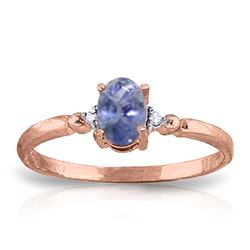 Genuine 0.46 ctw Tanzanite & Diamond Ring Jewelry 14KT Rose Gold - REF-27F8Z