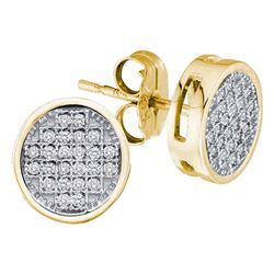 0.10 CTW Diamond Circle Cluster Earrings 10KT Yellow Gold - REF-12M8H