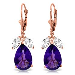 Genuine 13 ctw Amethyst & White Topaz Earrings Jewelry 14KT Rose Gold - REF-61H2X