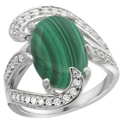 Natural 7.74 ctw malachite & Diamond Engagement Ring 14K White Gold - REF-129X2A