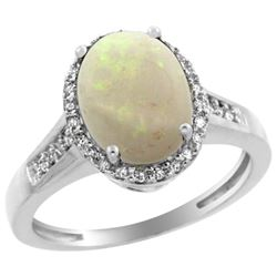 Natural 2.49 ctw Opal & Diamond Engagement Ring 14K White Gold - REF-41R7Z