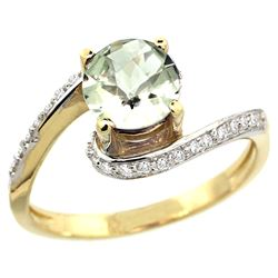 Natural 0.99 ctw green-amethyst & Diamond Engagement Ring 14K Yellow Gold - REF-52K2R