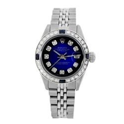 Rolex Pre-owned 26mm Womens Custom Blue Vignette Stainless Steel - REF-470R2M