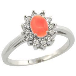 Natural 0.67 ctw Coral & Diamond Engagement Ring 14K White Gold - REF-47Y7X