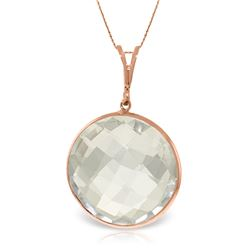 Genuine 18 ctw White Topaz Necklace Jewelry 14KT Rose Gold - REF-39Y8F