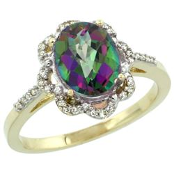 Natural 1.85 ctw Mystic-topaz & Diamond Engagement Ring 14K Yellow Gold - REF-38N6G