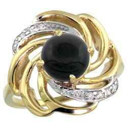 Natural 2.57 ctw onyx & Diamond Engagement Ring 14K Yellow Gold - REF-55G4M