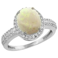 Natural 2.56 ctw Opal & Diamond Engagement Ring 14K White Gold - REF-41G7M