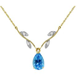 Genuine 1.52 ctw Blue Topaz & Diamond Necklace Jewelry 14KT Yellow Gold - REF-30N7R