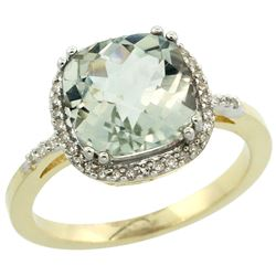 Natural 4.11 ctw Green-amethyst & Diamond Engagement Ring 10K Yellow Gold - REF-34X3A