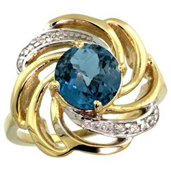 Natural 2.25 ctw london-blue-topaz & Diamond Engagement Ring 14K Yellow Gold - REF-58R4Z