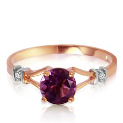 Genuine 0.92 ctw Amethyst & Diamond Ring Jewelry 14KT Rose Gold - REF-28P4H
