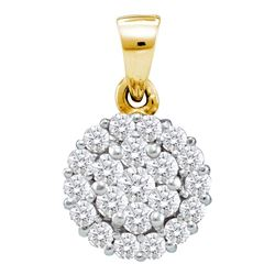 0.93 CTW Diamond Flower Cluster Pendant 14KT Yellow Gold - REF-75F2N
