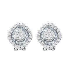 1.5 CTW Diamond Square Cluster French-clip Earrings 14KT White Gold - REF-101N9F
