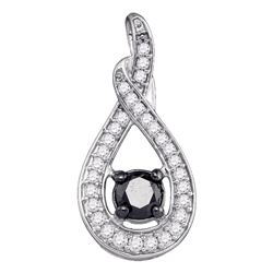 0.25 CTW Black Color Diamond Teardrop Pendant 10KT White Gold - REF-37N5F