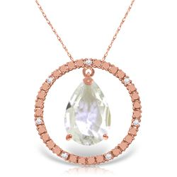 Genuine 6.6 ctw White Topaz & Diamond Necklace Jewelry 14KT Rose Gold - REF-52N9R
