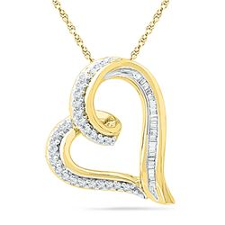 0.16 CTW Diamond Heart Outline Pendant 10KT Yellow Gold - REF-16N4F