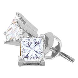 0.60 CTWPrincess Diamond Solitaire Stud Earrings 14KT White Gold - REF-75K2W
