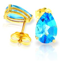 Genuine 3.15 ctw Blue Topaz Earrings Jewelry 14KT Yellow Gold - REF-21K2V