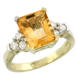 Natural 2.86 ctw citrine & Diamond Engagement Ring 10K Yellow Gold - REF-53H5W