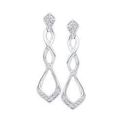 0.10 CTW Diamond Cascading Teardrop Dangle Earrings 10KT White Gold - REF-14W9K