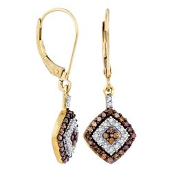 0.50 CTWCognac-brown Color Diamond Square Dangle Earrings 10KT Yellow Gold - REF-24F2N
