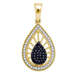 0.35 CTW Black Color Diamond Milgrain Teardrop Pendant 10KT Yellow Gold - REF-22N4F