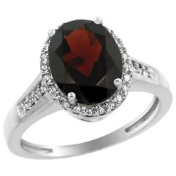 Natural 2.49 ctw Garnet & Diamond Engagement Ring 14K White Gold - REF-45F3N