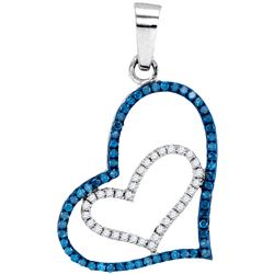 0.25 CTW Blue Color Diamond Double Heart Pendant 10KT White Gold - REF-14M9H