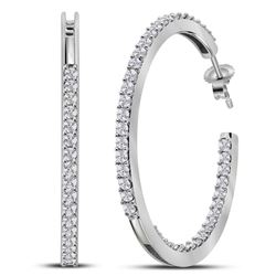 1.95 CTW Diamond In/Out Hoop Earrings 14KT White Gold - REF-149M9H