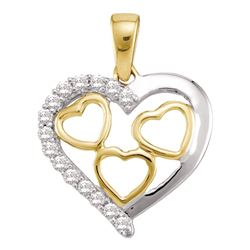 0.18 CTW Diamond Nested Heart Pendant 10KT Two-tone Gold - REF-8N9F