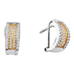 0.50 CTWDiamond Huggie French-clip Earrings 14KT White Gold - REF-52M4H