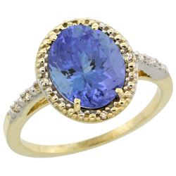 Natural 2.41 ctw Tanzanite & Diamond Engagement Ring 14K Yellow Gold - REF-81F3N