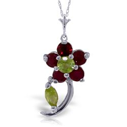 Genuine 0.87 ctw Peridot & Ruby Necklace Jewelry 14KT White Gold - REF-26P9H