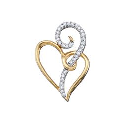 0.10 CTW Diamond Curled Double Heart Pendant 10KT Yellow Gold - REF-13Y4X