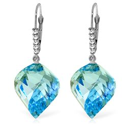 Genuine 28 ctw Blue Topaz & Diamond Earrings Jewelry 14KT White Gold - REF-87F7Z